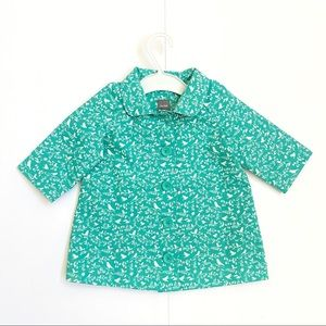 Baby Gap teal white bird floral raincoat jacket